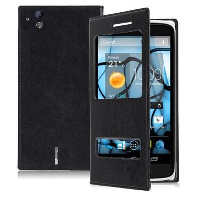 Microsonic Dual View Delux Kapaklı Kılıf Casper Via V4 Siyah Cep Telefonu Kılıfı