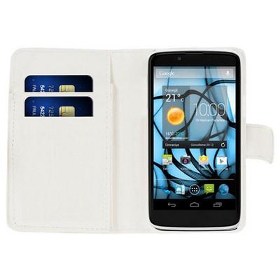 Microsonic Cüzdanlı Deri Casper Via V4 Kılıf Beyaz Cep Telefonu Kılıfı
