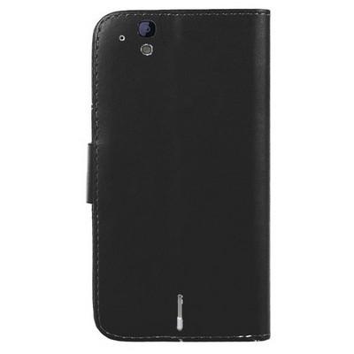 Microsonic Cüzdanlı Deri Casper Via V4 Kılıf Siyah Cep Telefonu Kılıfı