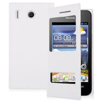 Microsonic Dual View Delux Kapaklı Kılıf Huawei Ascend Y320 Beyaz Cep Telefonu Kılıfı