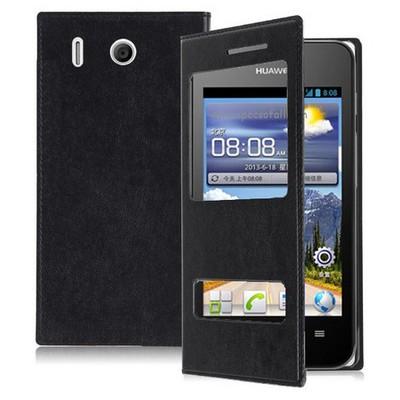 Microsonic Dual View Delux Kapaklı Kılıf Huawei Ascend Y320 Siyah Cep Telefonu Kılıfı