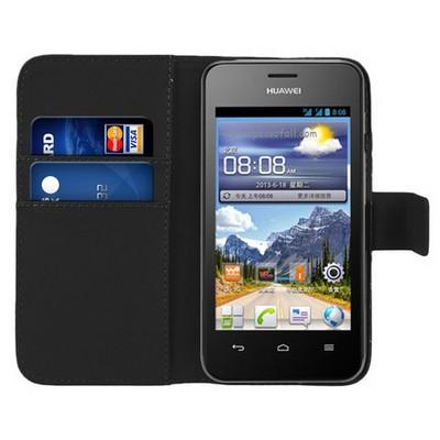 Microsonic Cüzdanlı Deri Huawei Ascend Y320 Kılıf Siyah Cep Telefonu Kılıfı