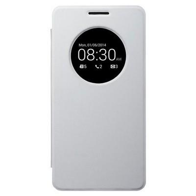 Microsonic View Cover Delux Kapaklı Asus Zenfone 6 Kılıf Akıllı Modlu Beyaz Cep Telefonu Kılıfı