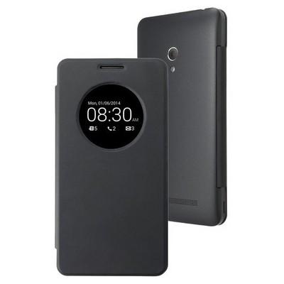 Microsonic View Cover Delux Kapaklı Asus Zenfone 6 Kılıf Akıllı Modlu Siyah Cep Telefonu Kılıfı