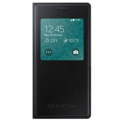 Microsonic View Cover Delux Kapaklı Samsung Galaxy S5 Mini Kılıf Akıllı Modlu Siyah Cep Telefonu Kılıfı