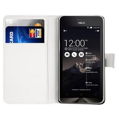 Microsonic Cüzdanlı Deri Asus Zenfone 6 Kılıf Beyaz Cep Telefonu Kılıfı