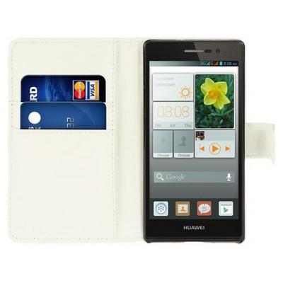 Microsonic Cüzdanlı Deri Huawei P7 Kılıf Beyaz Cep Telefonu Kılıfı
