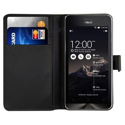 Microsonic Cüzdanlı Deri Asus Zenfone 4 Kılıf Siyah Cep Telefonu Kılıfı