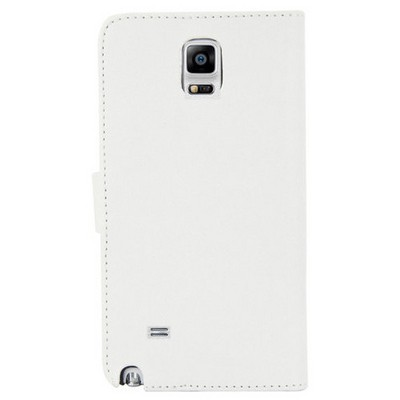 Microsonic Cüzdanlı Deri Samsung Galaxy Note 4 Kılıf Beyaz Cep Telefonu Kılıfı