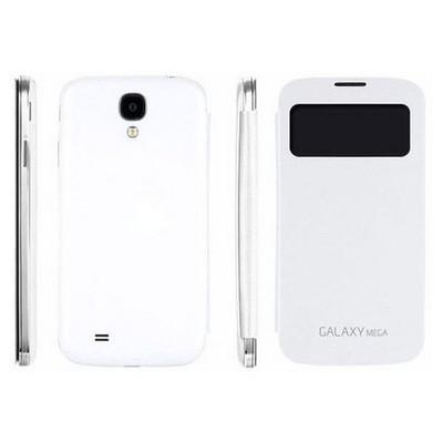 Microsonic View Cover Delux Kapaklı Kılıf Samsung Galaxy Mega 6.3 I9200 Beyaz Cep Telefonu Kılıfı