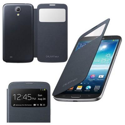 Microsonic View Cover Delux Kapaklı Kılıf Samsung Galaxy Mega 6.3 I9200 Siyah Cep Telefonu Kılıfı
