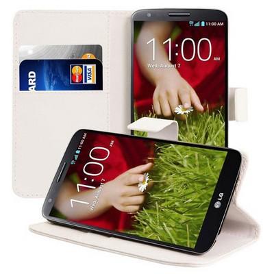 Microsonic Cüzdanlı Standlı Deri Kılıf - Lg Optimus G2 Beyaz Cep Telefonu Kılıfı