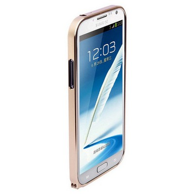 Microsonic Samsung Galaxy Note 2 Ultra Thin Metal Bumper Kılıf Sarı Cep Telefonu Kılıfı