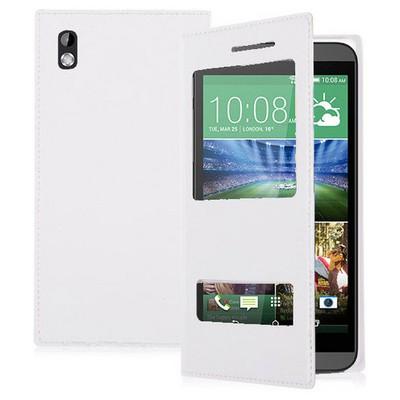 Microsonic Dual View Delux Kapaklı Htc Desire 816 Kılıf Beyaz Cep Telefonu Kılıfı