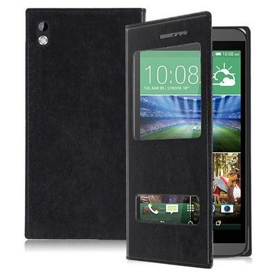 Microsonic Dual View Delux Kapaklı Htc Desire 816 Kılıf Siyah Cep Telefonu Kılıfı