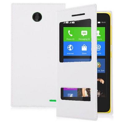 Microsonic Dual View Delux Kapaklı Nokia X Kılıf Beyaz Cep Telefonu Kılıfı