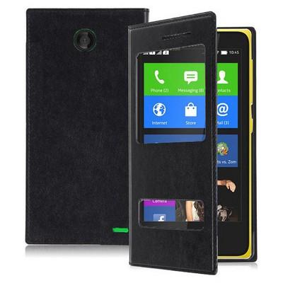 Microsonic Dual View Delux Kapaklı Nokia X Kılıf Siyah Cep Telefonu Kılıfı