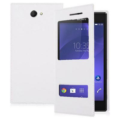 Microsonic Dual View Delux Kapaklı Sony Xperia M2 Kılıf Beyaz Cep Telefonu Kılıfı