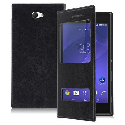 Microsonic Dual View Delux Kapaklı Sony Xperia M2 Kılıf Siyah Cep Telefonu Kılıfı