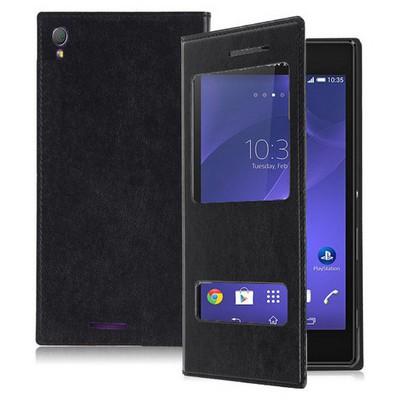 Microsonic Dual View Delux Kapaklı Sony Xperia T3 Kılıf Siyah Cep Telefonu Kılıfı