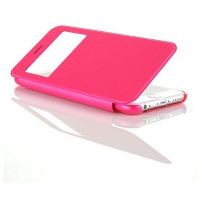 Microsonic View Cover Delux Kapaklı Iphone 6 Plus (5.5'') Kılıf Pembe Cep Telefonu Kılıfı