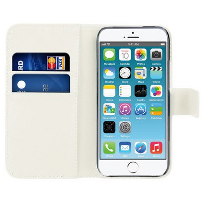 Microsonic Cüzdanlı Deri Iphone 6 (4.7'') Kılıf Beyaz Cep Telefonu Kılıfı