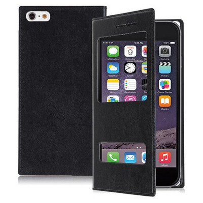 Microsonic Dual View Delux Kapaklı Iphone 6 4.7'' Kılıf Siyah Cep Telefonu Kılıfı