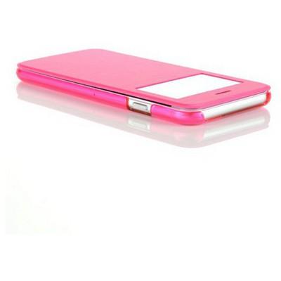 Microsonic View Cover Delux Kapaklı Iphone 6 (4.7'') Kılıf Pembe Cep Telefonu Kılıfı