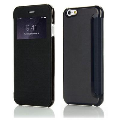 Microsonic View Cover Delux Kapaklı Iphone 6 (4.7'') Kılıf Siyah Cep Telefonu Kılıfı