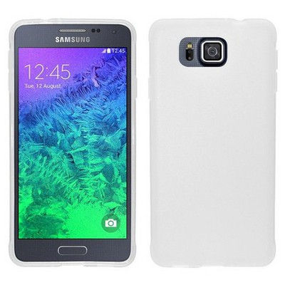 Microsonic Glossy Soft Samsung Galaxy Alpha Kılıf Beyaz Cep Telefonu Kılıfı