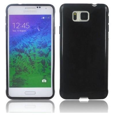 Microsonic Glossy Soft Samsung Galaxy Alpha Kılıf Siyah Cep Telefonu Kılıfı