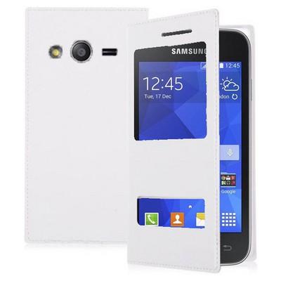 Microsonic Dual View Delux Kapaklı Samsung Galaxy Ace 4 Kılıf Beyaz Cep Telefonu Kılıfı