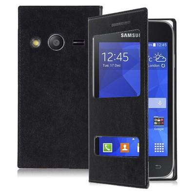 Microsonic Dual View Delux Kapaklı Samsung Galaxy Ace 4 Kılıf Siyah Cep Telefonu Kılıfı