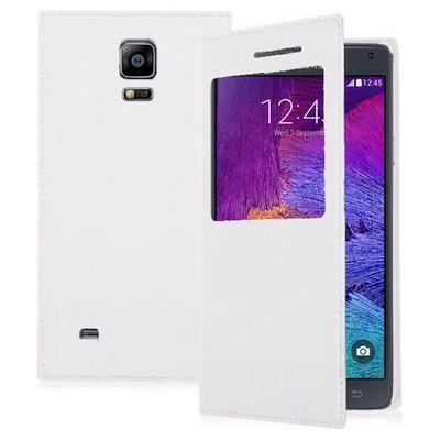 Microsonic View Cover Delux Kapaklı Samsung Galaxy Note 4 Kılıf Beyaz Cep Telefonu Kılıfı