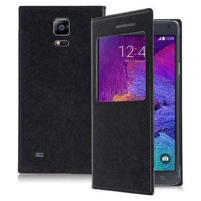 Microsonic View Cover Delux Kapaklı Samsung Galaxy Note 4 Kılıf Siyah Cep Telefonu Kılıfı