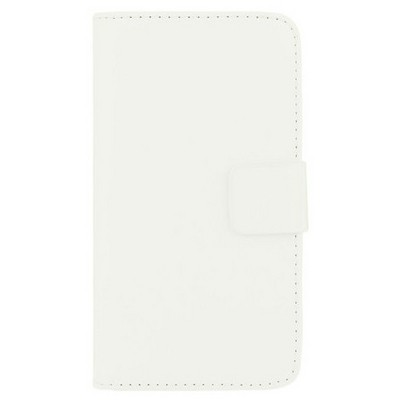 Microsonic Cüzdanlı Deri Samsung Galaxy Alpha Kılıf Beyaz Cep Telefonu Kılıfı
