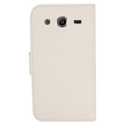 Microsonic Cüzdanlı Deri Samsung Galaxy Core 2 Kılıf Beyaz Cep Telefonu Kılıfı