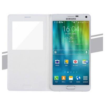 Microsonic View Padding Kapaklı Samsung Galaxy Note 4 Kılıf Akıllı Modlu Beyaz Cep Telefonu Kılıfı
