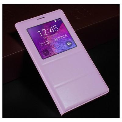 Microsonic View Padding Kapaklı Samsung Galaxy Note 4 Kılıf Akıllı Modlu Pembe Cep Telefonu Kılıfı