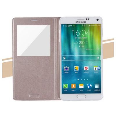 Microsonic View Padding Kapaklı Samsung Galaxy Note 4 Kılıf Akıllı Modlu Sarı Cep Telefonu Kılıfı