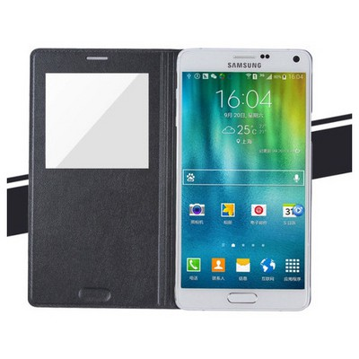 Microsonic View Padding Kapaklı Samsung Galaxy Note 4 Kılıf Akıllı Modlu Siyah Cep Telefonu Kılıfı