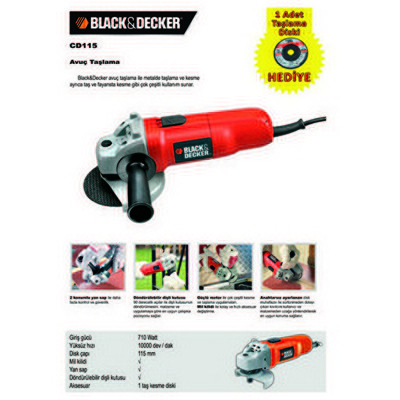 Black & Decker CD115 Avuç taşlama, 700W Taşlama