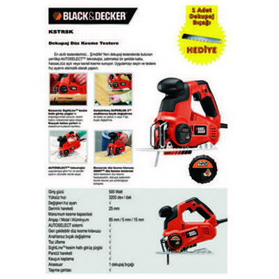 Black & Decker Kstr8k 520watt Pandül Hareketli Düz Kesim Dekupaj Testere