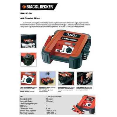 Black & Decker BDJS350 Akü takviye cihazı, 350Ah Akü Şarj Cihazı