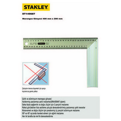 Stanley St145687 Marangoz Gönyesi, 400mmx200mm Tezgah Üstü Makine