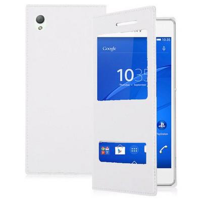 Microsonic Dual View Delux Kapaklı Sony Xperia Z3 Kılıf Beyaz Cep Telefonu Kılıfı