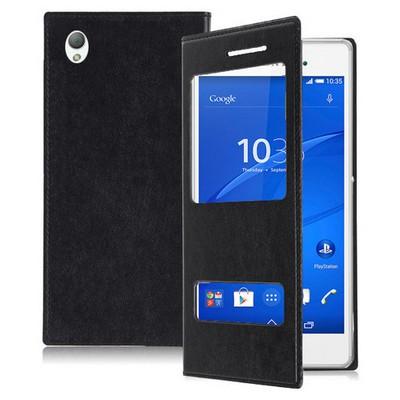 Microsonic Dual View Delux Kapaklı Sony Xperia Z3 Kılıf Siyah Cep Telefonu Kılıfı