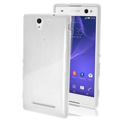 Microsonic Glossy Soft Sony Xperia C3 Kılıf Beyaz Cep Telefonu Kılıfı