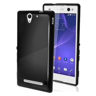 Microsonic parlak Soft Sony Xperia C3 Kılıf Siyah Cep Telefonu Kılıfı