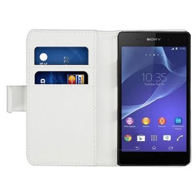 Microsonic Cüzdanlı Deri Sony Xperia C3 Kılıf Beyaz Cep Telefonu Kılıfı